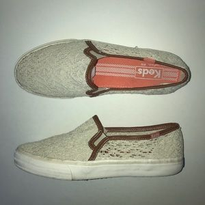 Keds Tan Lace Edged w/ Brown Leather Slip On Shoes